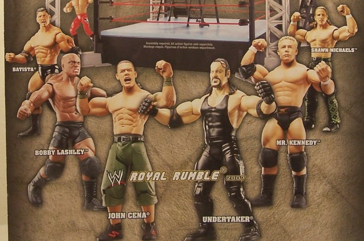 WWE Wrestling Jakks Ruthless Aggression Royal Rumble 2007 PPV Exclusive John Cena Bobby Lashley Mr Kennedy Dave Batista Shawn Michaels Figures