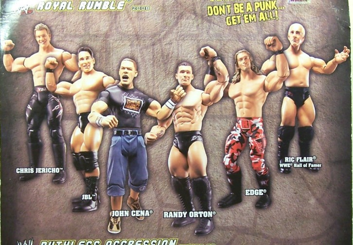 WWE Jakks Ruthless Aggression Royal Rumble 2008 PPV Exclusive Chris Jericho Edge Ric Flair John Cena JBL Randy Orton Figures