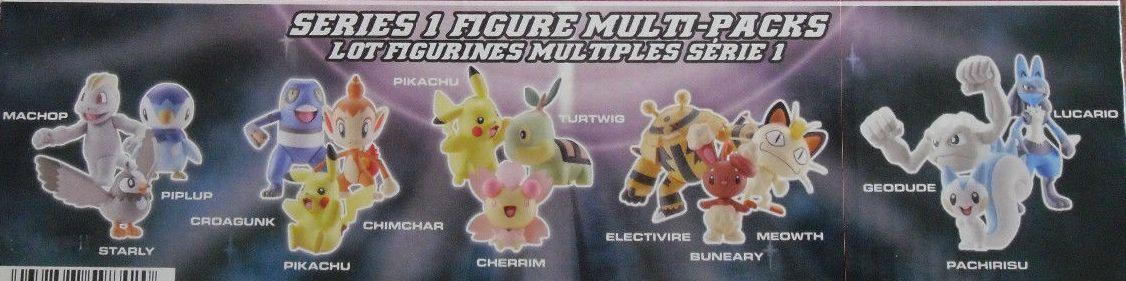 Jakks Pacific Pokemon 3 Packs Series 1 Machop, Starly, Piplup Croagunk, Pikachu, Chimchar Pikachu, Cherrim, Turtwig Electivire, Buneary, Meowth Geodude, Pachirisu, Lucario