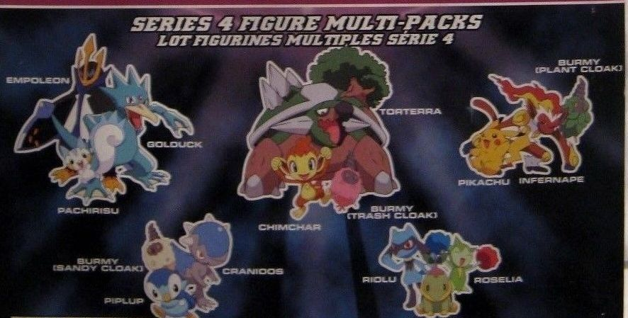 Jakks Pacific Pokemon Diamond and Pearl 3 Packs Series 4 Burmy, Cranidos, Piplup Chimchar, Burmy, Torterra Pachirisu, Golduck, Empoleon Riolu, Roselia, Turtwig Burmy, Pikachu, Infernape