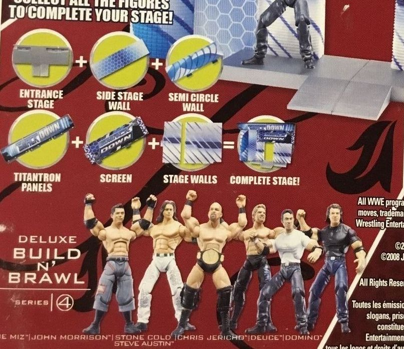 WWE Wrestling 3.75 Inch Figures Build N Brawl Series 4 Stone Cold Steve Austin The Miz Deuce Domino John Morrison Chris Jericho Figures