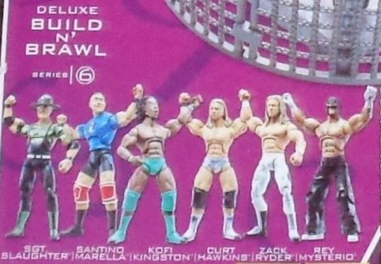 WWE Wrestling 3.75 Inch Figures Build N Brawl Series 6 Sgt Slaughter Santino Marella Curt Hawkins Zack Ryder Kofi Kingston and Rey Mysterio