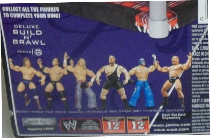 WWE Wrestling 3.75 Inch Figures Build N Brawl Series 8 The Rock, Batista, Rey Mysterio, Big Show, Rowdy Roddy Piper, and Shawn Michaels Jakks Build N Brawl Figures