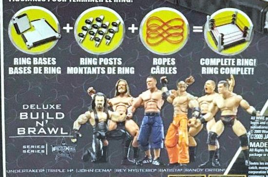 WWE Wrestling 3.75 Inch Figures Build N Brawl Series Wrestlemania 25 Series 1 The Undertaker Triple H John Cena Rey Mysterio Batista Randy Orton Jakks Build N Brawl Figures