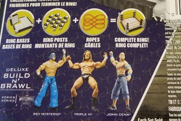 WWE Wrestling 3.75 Inch Figures Build N Brawl Series Wrestlemania 25 Series Series Rey Mysterio John Cena Triple H! Jakks Build N Brawl Figures