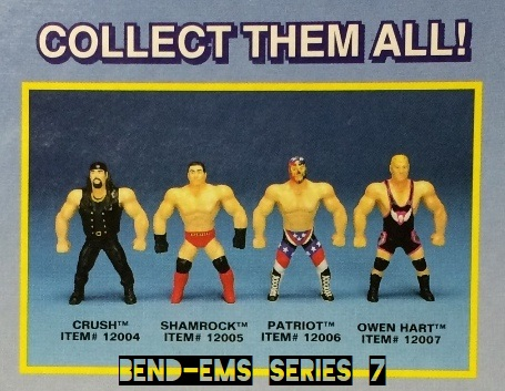 Just Toys Justoys Bend-Ems Bendems Bend Ems WWE WWF Bend-Ems Series 7 Crush Ken Shamrock Owen Hart The Patriot  Figures