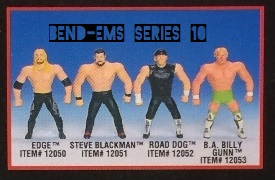 Just Toys Justoys Bend-Ems Bendems Bend Ems WWE WWF Bend-Ems Series 10 Edge Steve Blackman Road Dogg Jesse James Figures