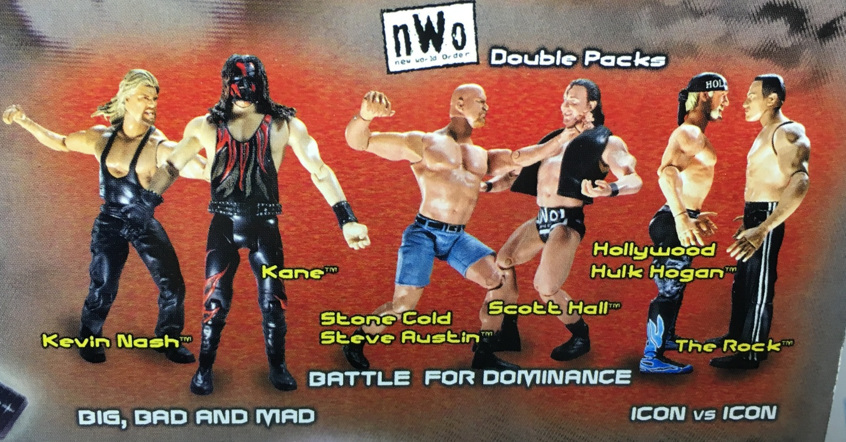 WWE Wrestling Jakks R3 Tech R-3 Tech NWO Two Packs Kevin Nash Scott Hall Hollywood Hulk Hogan Kane Steve Austin The Rock