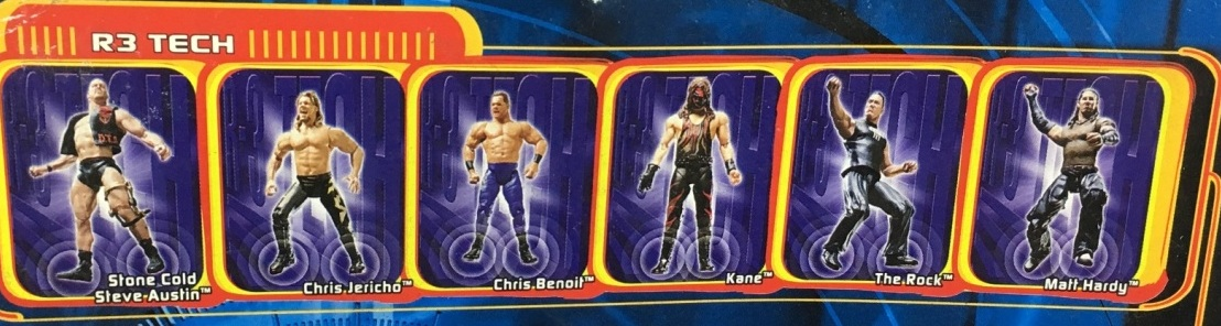 WWF WWE Wrestling Jakks R3 Tech Series 1 The Rock Chris Jericho Steve Austin Matt Hardy Kane Chris Benoit Figures