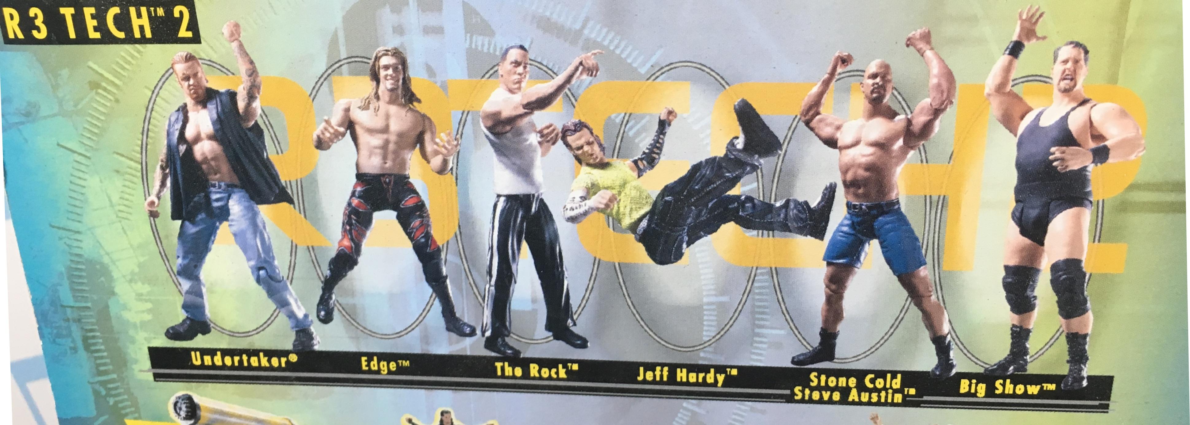WWF WWE Wrestling Jakks R3 Tech Series 2 Jeff Hardy Big Show Stone Cold Steve Austin Edge The Rock The Undertaker