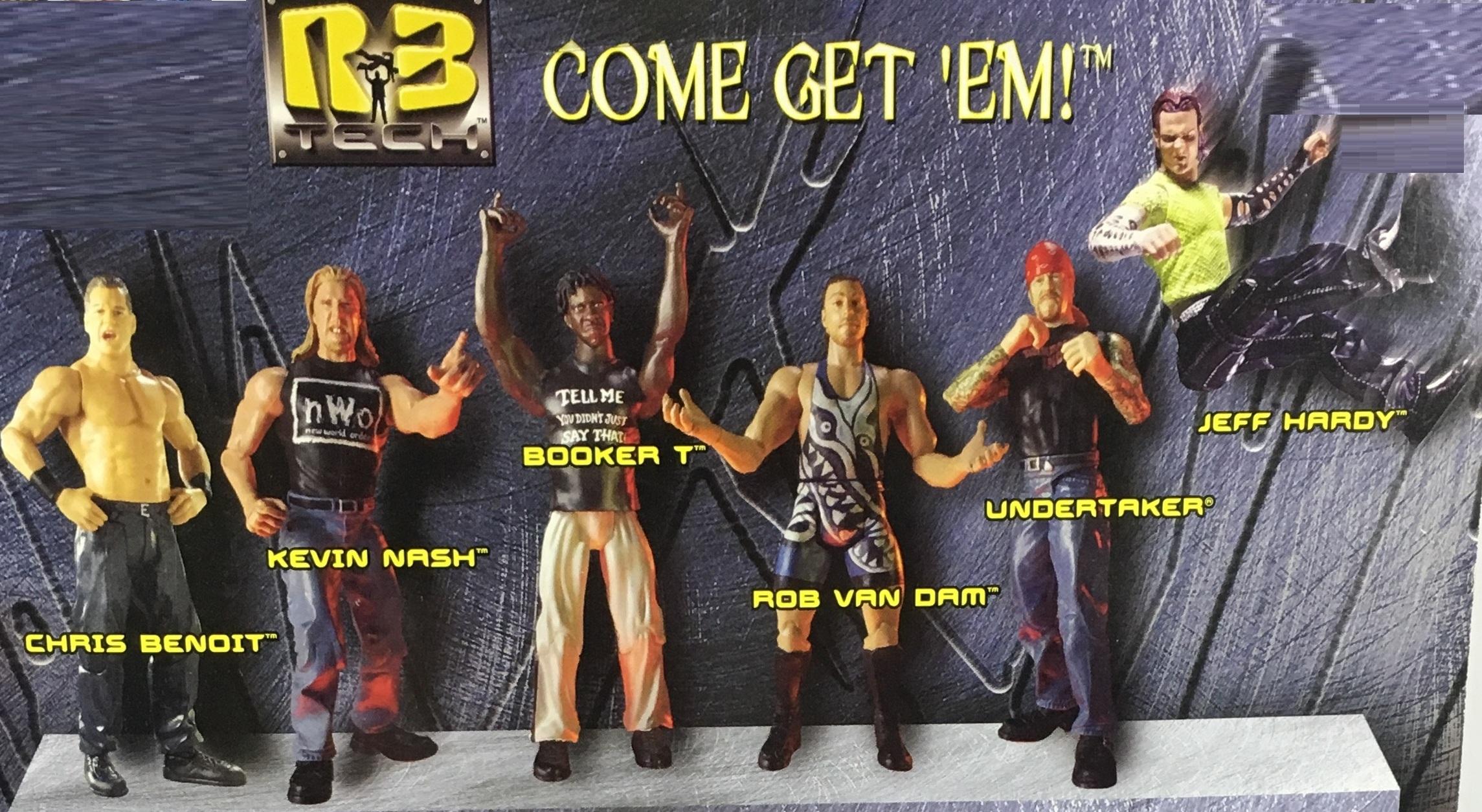 WWF WWE Wrestling Jakks R3 Tech Series 5 Undertaker Chris Benoit Kevin Nash Rob Van Dam Booker T Jeff Hardy Figures