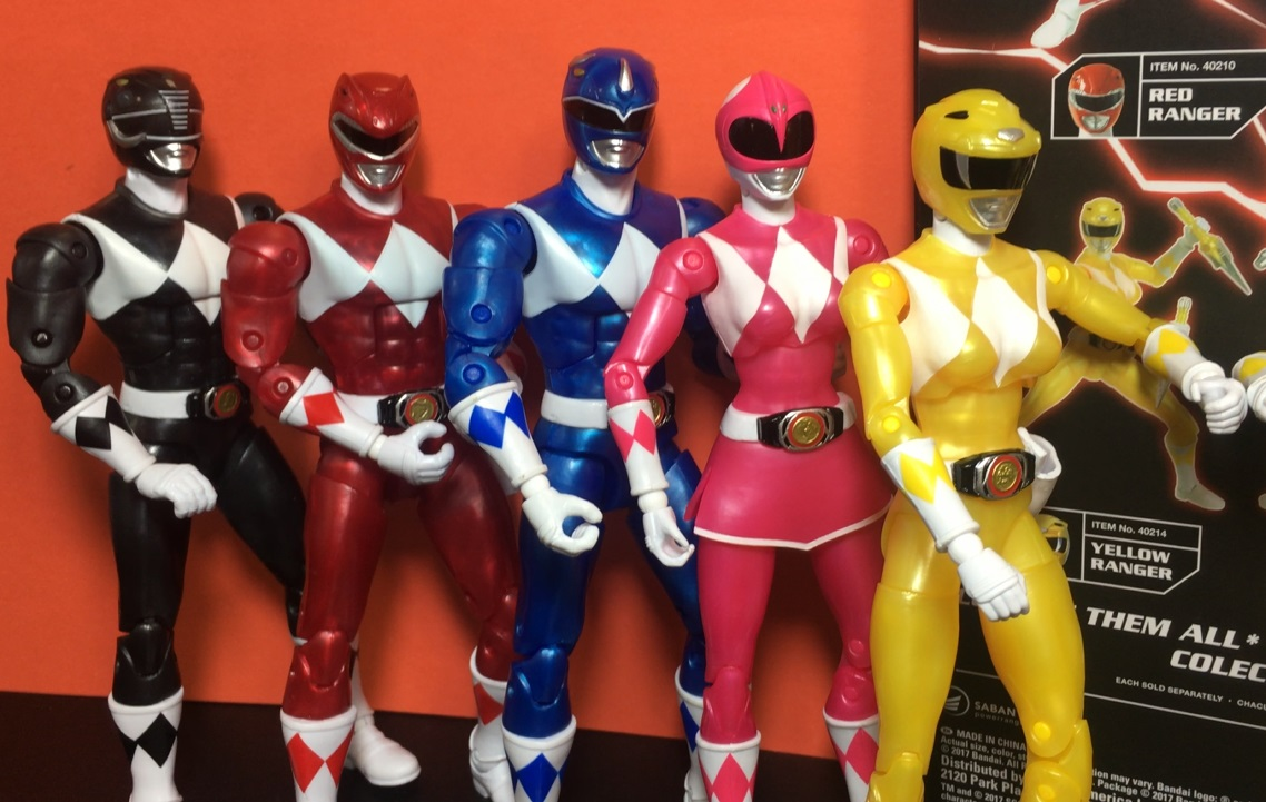 2018 Bandai Power Rangers Mighty Morphin Power Rangers Legacy Metallic Figures Set Red Ranger Pink Ranger Yellow Ranger Blue Ranger Black Ranger Figures