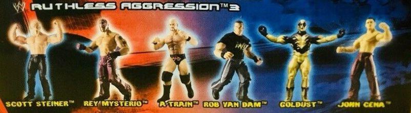 WWE Jakks Pacific Ruthless Aggression Series 3 Figures Rob Van Dam Goldust RVD Scott Steiner A-Train Rey Mysterio John Cena