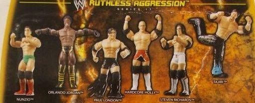 WWE Wrestling Jakks Pacific Ruthless Aggression Series 17 Stevie Richards, Hardcore Holly, Nunzio, Tajiri, Orlando Jordan, and Paul London Figures