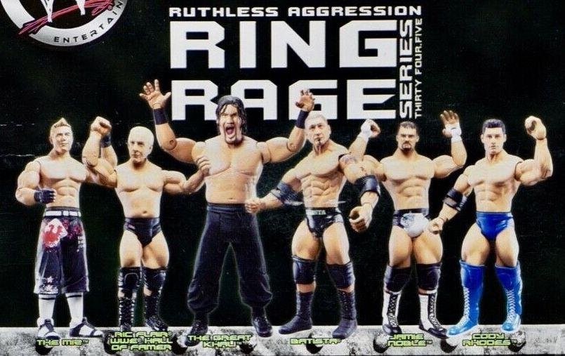 WWE Jakks Ruthless Aggression Series 34 Jamie Noble, Cody Rhodes, The Miz, Great Khali, Ric Flair, and Batista Figures