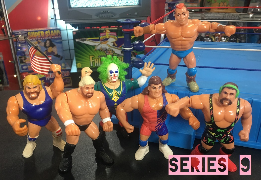 WWF Wrestling Hasbro WWE Hasbro Purple Cards Series 9 Doink the Clown, Hacksaw Jim Duggan #2, Million Dollar Man #3, Rick Steiner, Scott Steiner, and Tatanka #2