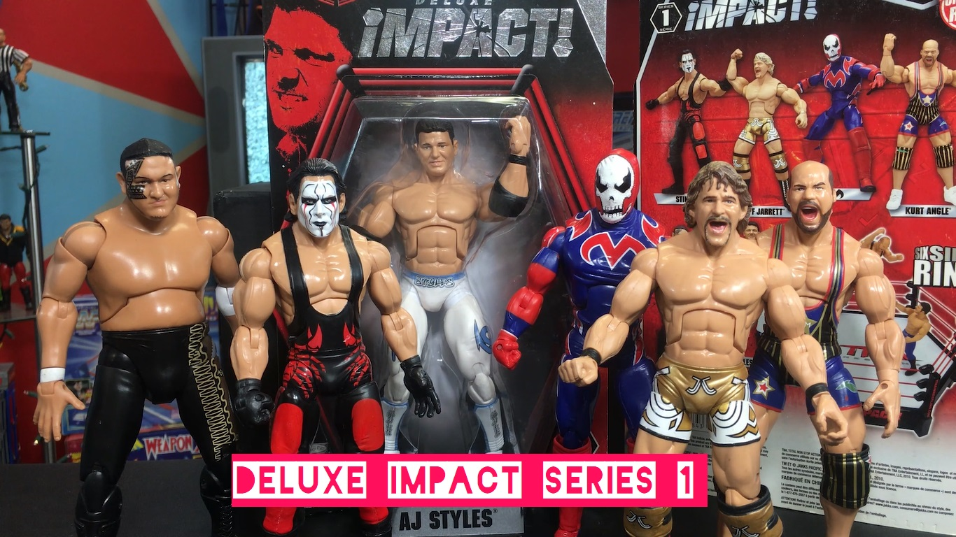 TNA Impact Wrestling Jakks Deluxe Aggression Series 1 AJ Styles Jeff Jarrett Sting Kurt Angle Suicide Samoa Joe Figures