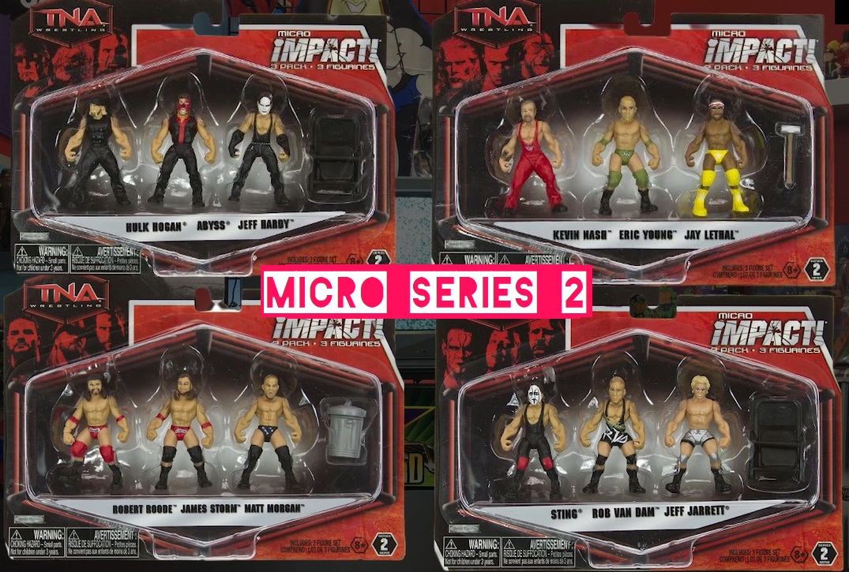 TNA Impact Wrestling Jakks Micro Series 2 Hulk Hogan Abyss Sting Kevin Nash Eric Young Jay Lethal Robert Roode James Storm Matt Morgan Jeff Hardy Rob Van Dam RVD Jeff Jarrett Figures