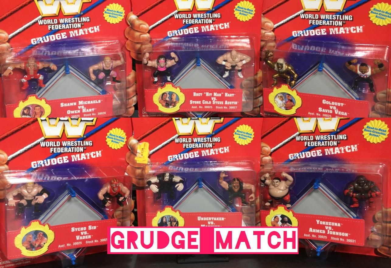 WWF Wrestling Grudge Match Playmates Figures WWE Toys Yokozuna Ahmed Johnson Owen Hart Shawn Michaels Mankind Undertaker Bret Hart Steve Austin Sycho Sid Vader Goldust Savio Vega Mini Figures