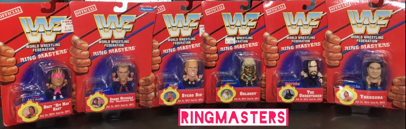 WWF Ringmasters Playmates WWE Playmates Toys Ring Masters Bret Hart Steve Austin Andre the Giant Goldust Shawn Michaels The Undertaker Yokozuna Figures Psycho Sid