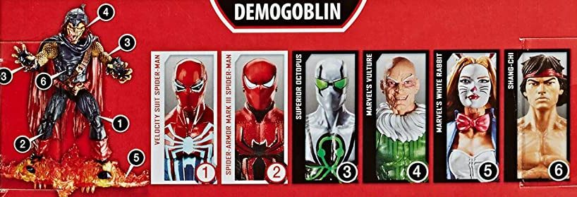 Hasbro Marvel Legends 2020 Build a Figure Series Demogoblin Spider-Man Mark III Superior Octopus Vulture Velocity Suit Spider-Man White Rabbit Shang-Chi Figures