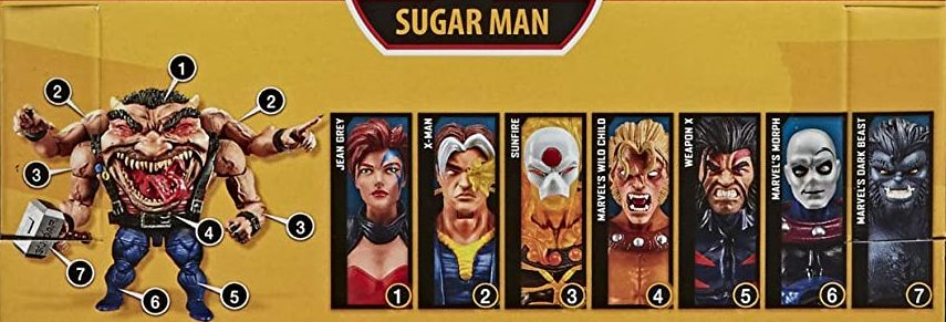 Hasbro Marvel Legends 2020 Build a Figure Sugarman Sugar Man Series Jean Grey, X-Man, Sunfire, Wild Child, Weapon X, Morph, Dark Beast Figures