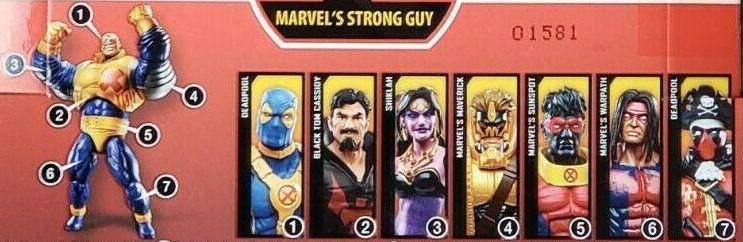 Hasbro Marvel Legends 2020 Build a Figure Strong Guy Series Black Tom Cassidy, Deadpool Blue Suit, Pirate Suit, Maverick, Shiklah, Sunspot, Warpath, Strong Guy Figures