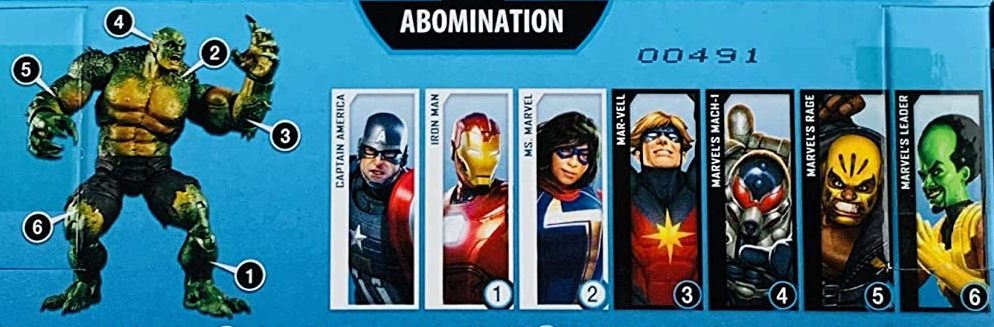 Hasbro Marvel Legends 2020 Build a Figure Abomination Series Captain America, Iron Man, Leader, Mach-1, Mar-Vell, Ms. Marvel, and Rage Figures