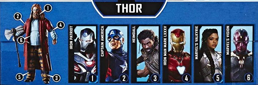 Hasbro Marvel Legends 2019 Build a Figure Fat Thor Captain America, Heimdall, Iron Man Mark LXXXV, Iron Patriot, Valkyrie, Vision Fat Thor 