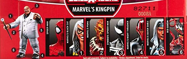 Hasbro Marvel Legends 2019 Build a Figure Kingpin Six-Arm Spider-Man, Black Cat, Puma, Symbiote Spider-Man, Night Thrasher, Silver Sable, Red Goblin, Kingpin