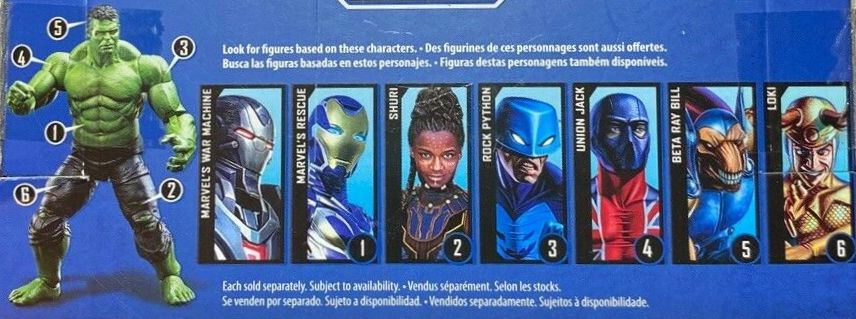 Hasbro Marvel Legends 2019 Build a Professor Incredible Hulk Series Beta Ray Bill, Loki, Rescue, Shuri, Rock Python, Union Jack, War Machine