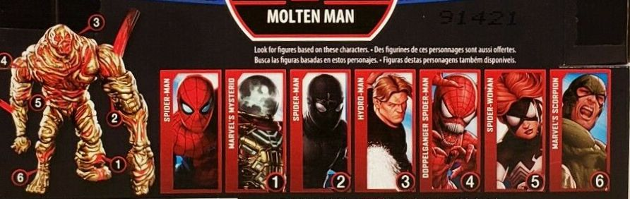 Hasbro Marvel Legends 2019 Build a Molten Man Series Spider-Man, Spider-Man (Stealth Suit), Doppelganger Spider-Man, Spider-Woman, Scorpion, Mysterio, Hydro-Man Figures