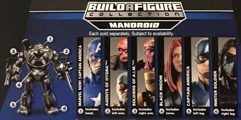 Hasbro Marvel Legends 2014 Mandroid Build a Figure Series AIM Soldier, Baron Zemo, Black Widow, Captain America (Now, World War II, Movie Edition), Hydra Soldier, Red Skull, Winter Soldier Figures