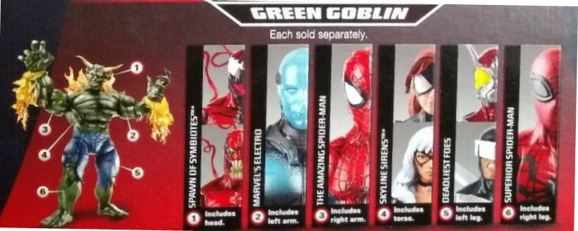 Hasbro Marvel Legends 2014 Ultimate Green Goblin Build a Figure Series Agent Venom Spider-Man Black Cat Boomerang Carnage Toxin Electro Spider-Girl Superior Amazing Ultimate Beetle Figures