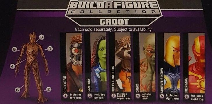 Hasbro Marvel Legends 2014 Guardians of the Galaxy Build a Groot Figure Series Cosmic Iron Man Drax Gamora Nova Rocket Raccoon Star Lord Figures