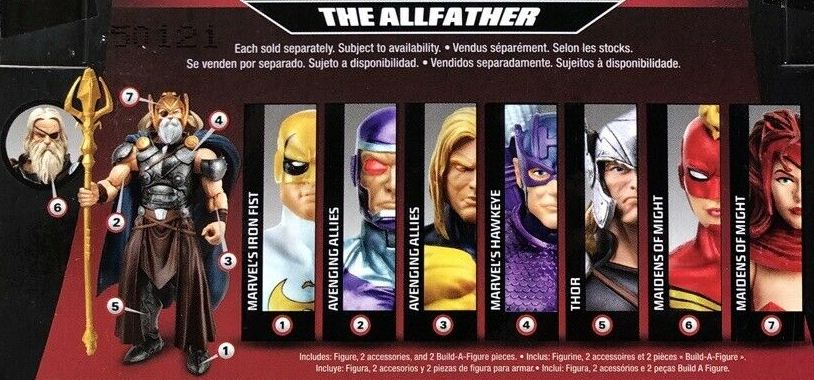 Hasbro Marvel Legends 2015 All Father AllFather Build a Figure Series Captain Marvel Hawkeye Iron Fist Machine Man Thor Scarlet Witch Sentry Figures