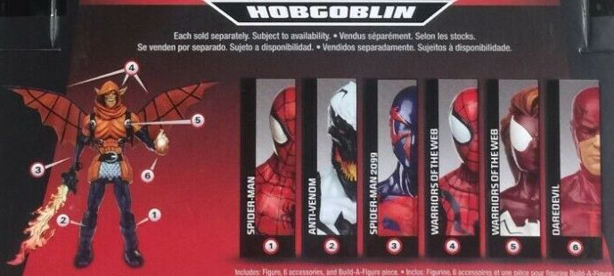 Hasbro Marvel Legends 2015 Hobgoblin Build a Figure Wave Series Anti Venom Daredevil Spider-Girl SpiderGirl Spider-Man Spiderman 2099 Spider Woman Spiderwoman Figures