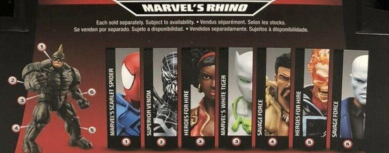 Hasbro Marvel Legends 2015 Rhino Build a Figure Series Chameleon Ghost Rider Kraven Misty Knight Scarlet Spider Superior Venom White Tiger Figures