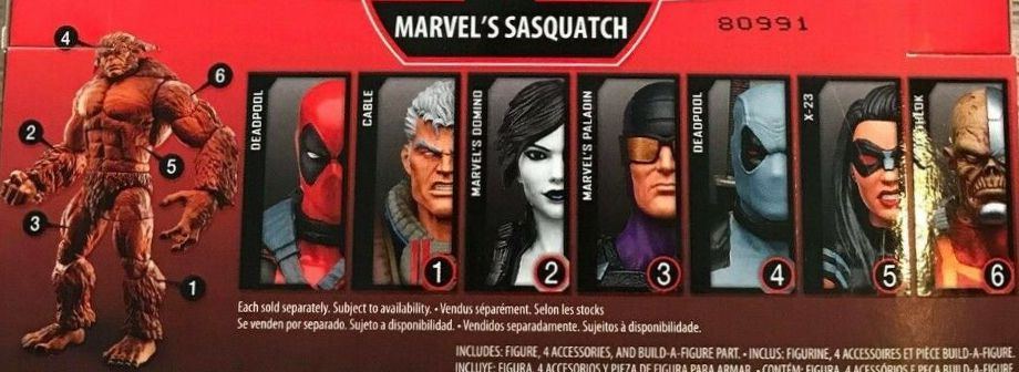 Hasbro Marvel Legends 2018 Sasquatch Build a Figure Wave Cable Deadpool X-Force Deathlok Domino Paladin X-23 Figures